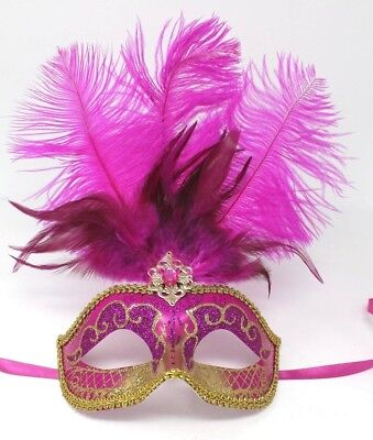 Pink Glitter Eye Mask With Feathers Masquerade Ball Venetian Fancy Dress