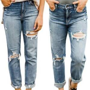 Mujer Senoras Pantalon Pantalones Vaqueros Suelto Novio Rasgada De Denim Talla 8 10 12 14 16 Ebay