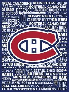 Montreal Canadiens Typography Canvas Blue Art Print (New) Canada Preview