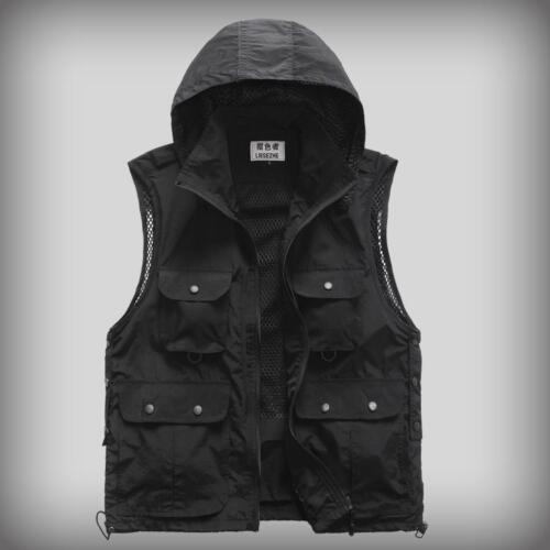 Fashion Men/'s Photographer Reporter Zip Outdoor Fishing Vest  Hooded Casual Coat