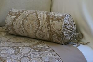 NEW Custom Ralph Lauren Desert Spa Paisley Neckroll Pillow Neck Roll Bolster