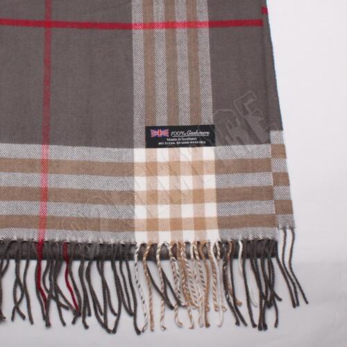 Men/'s 100/% CASHMERE Scarf Gray Big Plaid Stripe Design Soft