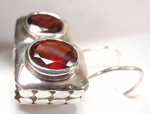 Faceted Oval Garnet Wire Back Earrings 925 Sterling Silver Rectangle 8 Grams New