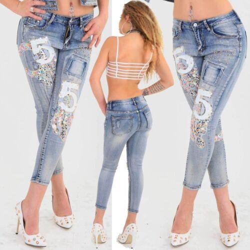 Exclusive limmited Edition Jeans NR 5 Goldperlen Pailletten bestickt