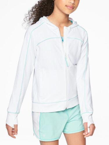 Athleta Girl Good Vibes Hoodie Full Zip Bright White SIZE L//12    #212678 E1017