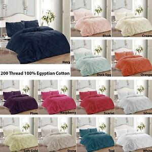 Luxury-Pure-100-Cotton-200-Thread-Pinch-Pleat-Pintuck-Puckering-Duvet-Cover-Set
