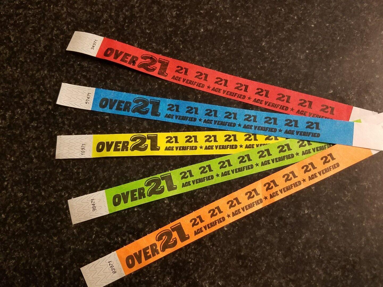 15,000 Over 21 1.9cm Tyvek Armbänder, Armbänder für Events, Papier Armbänder