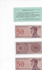 3 SEQUENTIALLY NUMBERED UNCIRCULATED 1964 Bank Indonesia 50 LIMA PULUH SEN BILLS