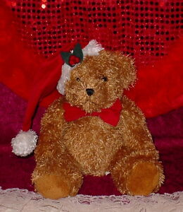 Christmas Tan Bear Red Stocking Hat Red Bow 10 Inch