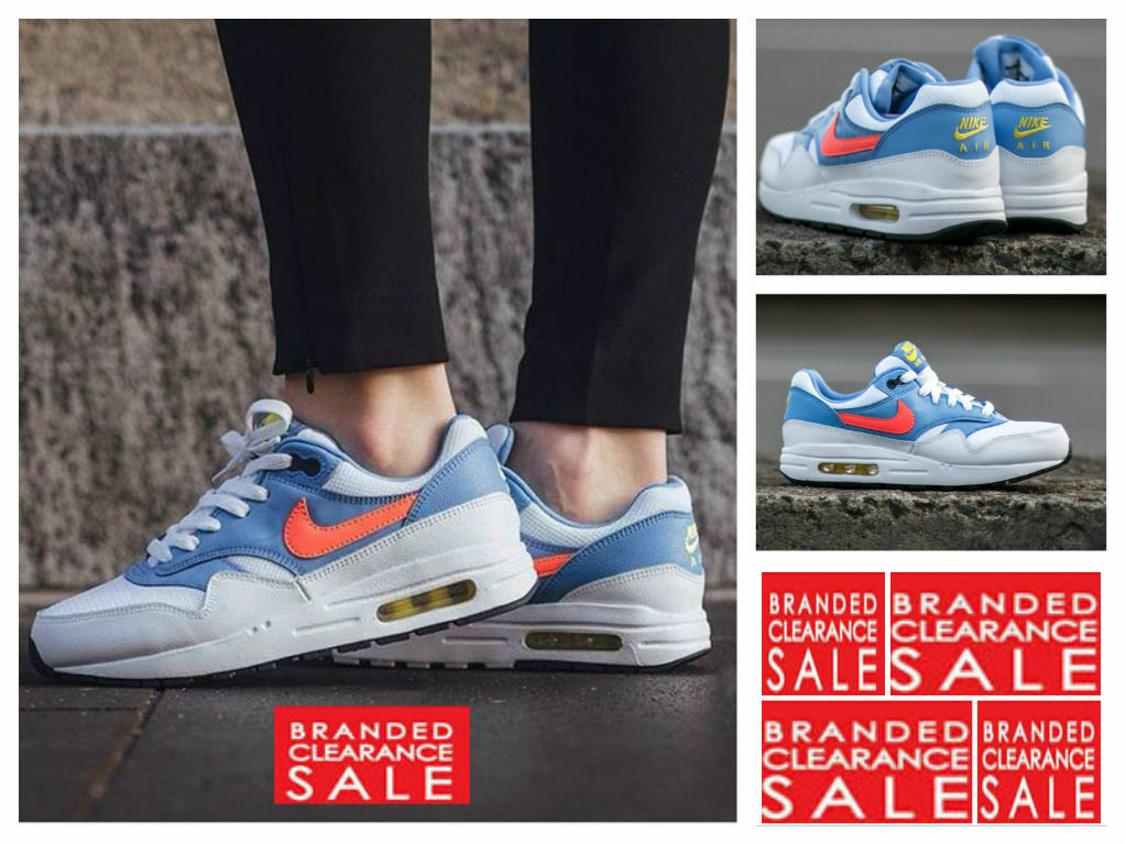 BNIB New damen Nike Air Max 1 Weiß Bright Mango Blau Größe 3 4 5 6uk