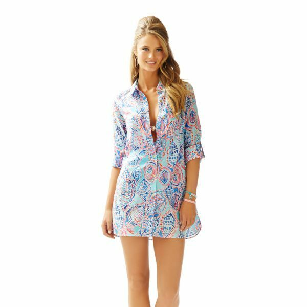 NEW Lilly Pulitzer JUPITER ISLAND TUNIC Cover up Multi Shell me White bluee Pink