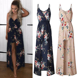 Women-039-s-Jumpsuit-Floral-Shorts-Romper-Playsuit-Strappy-Summer-Beach-Maxi-Dress