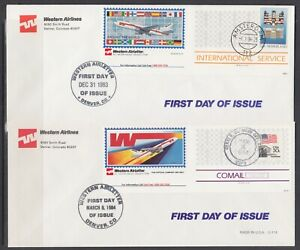 US-1983-amp-1984-Western-Airlines-Semi-Official-Air-Letters-2-different-FDCs