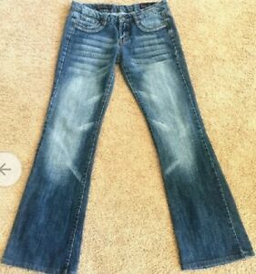 Citizens-of-Humanity-Ingrid-Low-Waist-Flare-Stretch-Jeans-Size-28-embroidered
