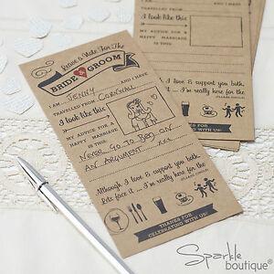 Image Is Loading Vintage Wedding Advice Cards For Bride Groom Guest