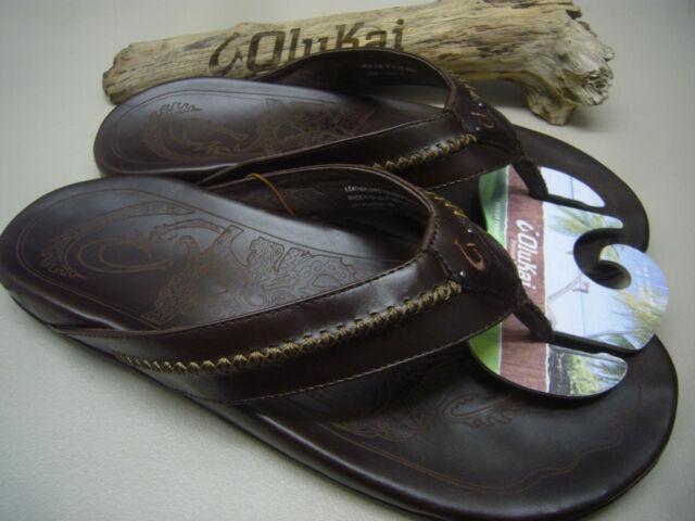 Olukai Mea Ola Dark Java//Dark Java Confort Tongs Homme Tailles 7-15 Neuf en Boîte!!!