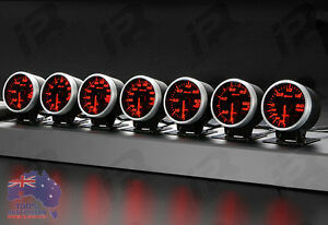 2x-Link-Meter-BF-DEFI-STYLE-GAUGE-60mm-RED-WHITE-Universal-Fitment-Kit