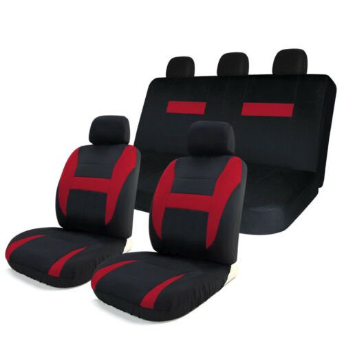 8pcs Car Seat Covers Set Black & Red Universal Fit Airbag Compatible Storage Bag