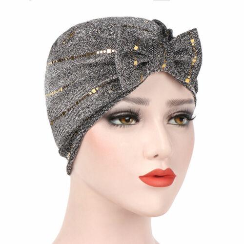 Ladies Women Stylish Bow Sequin Headwear Hair Head Wrap Caps Turban Hats