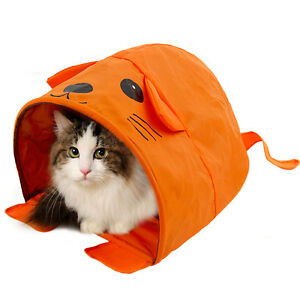 Image is loading Pet-Cat-Tent-Tunnel-Bed-Collapsible-Summer-Kitten-  sc 1 st  eBay & Pet Cat Tent Tunnel Bed Collapsible Summer Kitten Cat Beds House ...