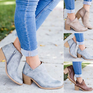 Womens-Short-Heel-Block-Ankle-Boots-Booties-Point-Toe-Zipper-Casual-Shoes-Size