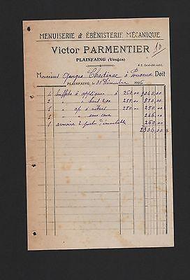 Plainfaing, Rechnung 1926, Victor Parmentier Menuiserie & Ébènisterie Mécanique