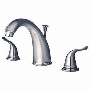 Contemporary Bathroom Widespread Vanity Sink Faucet Brushed Nickel