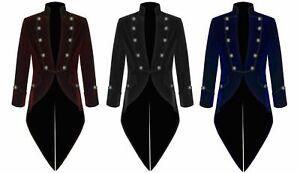 Mens-Velvet-VLADIMIR-TUXEDO-Jacket-Tail-coat-Goth-Steampunk-Victorian
