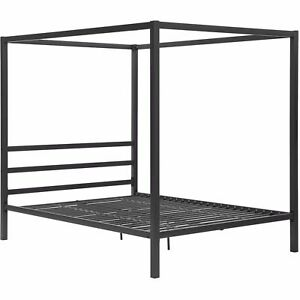 Modern Bedroom Metal Canopy Bed Frame Queen Size With HeadBoard