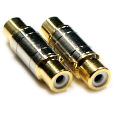 2 RCA/Phono Gold Coupler/Joiner - Female To Socket Audio Adapter Gender Changer