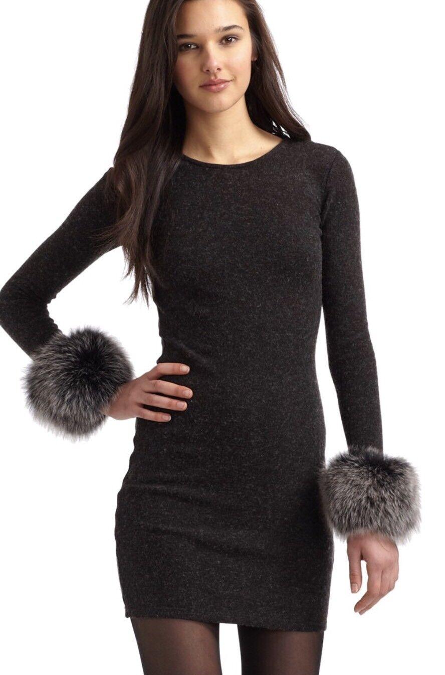 Alice + Olivia Adrianna Fur Trimmed Cuffs Sweater Dress Wool Charcoal Size XS