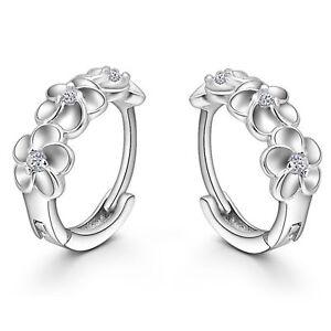 Brillante-solido-de-plata-esterlina-925-Circulo-Aro-Huggie-3-flor-CZ-Pendientes-Regalo