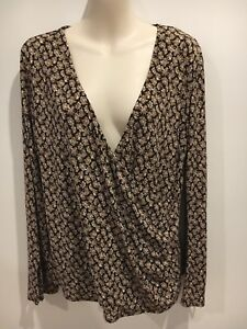 Laura-Ashley-brown-Floral-Crossover-Top-Size-L
