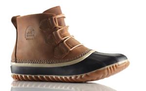 NIB-Sorel-Out-N-About-Leather-Duck-Boots-Waterproof-Elk-Brown-Women-039-s-Sz-8