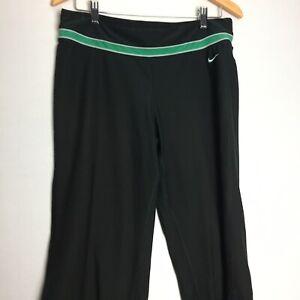 Nike Women S Yoga Pants Capri Joggers Fit Dry Black Wide Leg Size Large Ebay