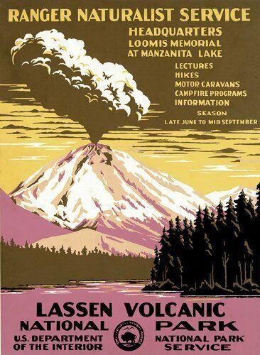 rv National Park Hike 3x4 inch Lassen Poster Art Bumper Sticker