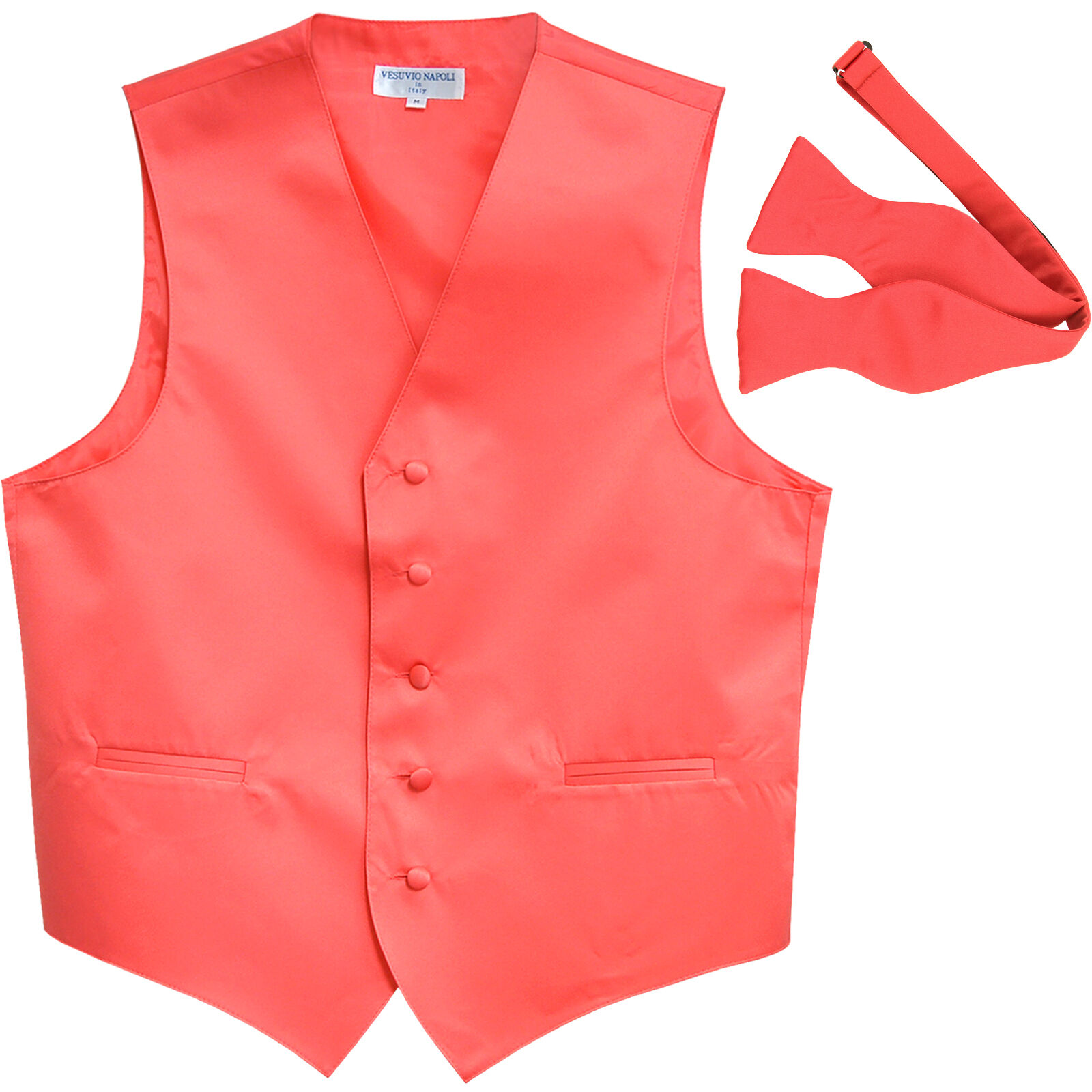 New polyester formal men's waistcoat tuxedo vest_self tied bowtie coral 5XL 6XL