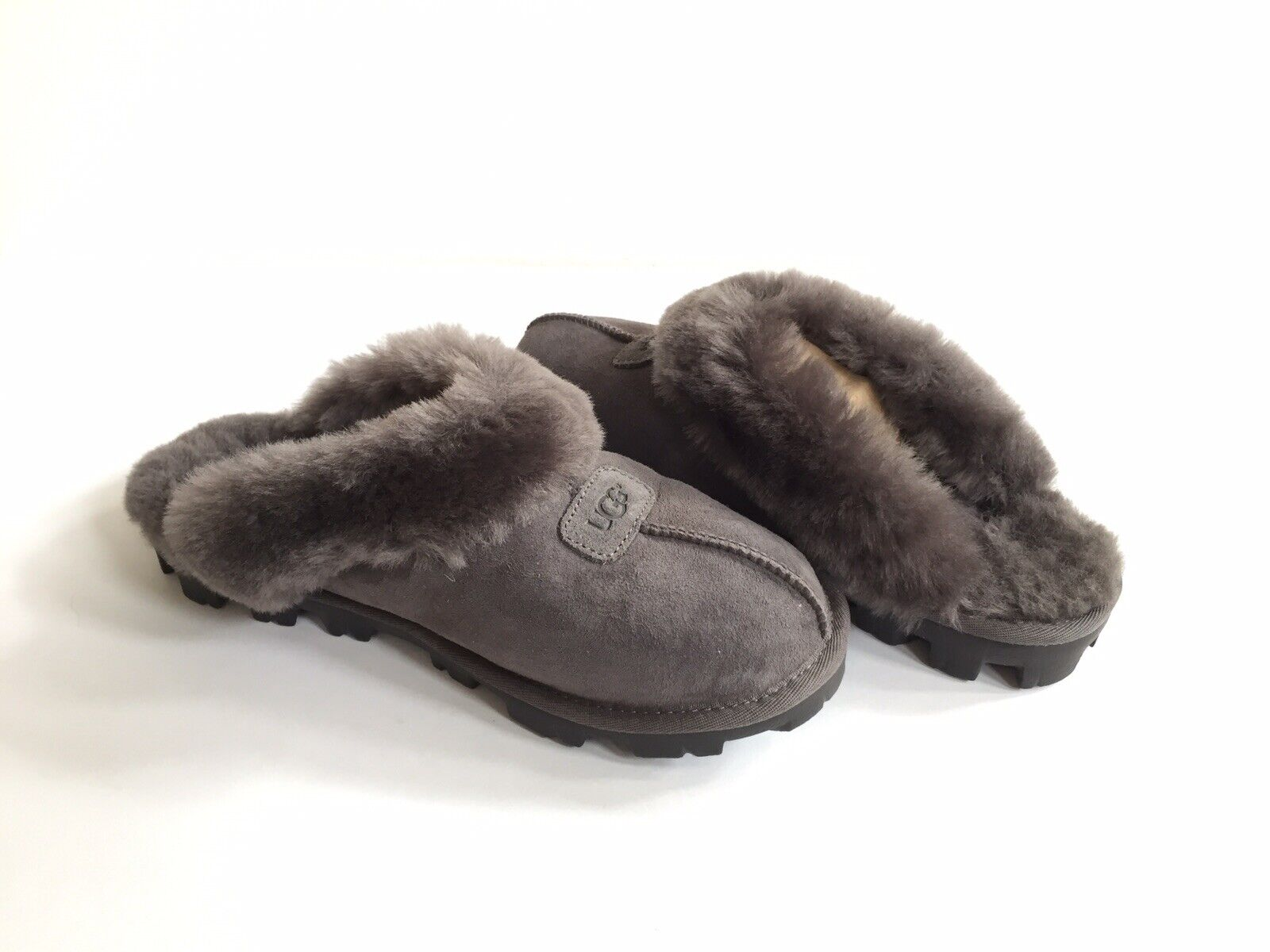 3af19958447 UGG Australia Coquette Grey Suede Fur Slippers Womens Size 8