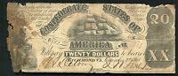 T-9 1861 $20 TWENTY DOLLARS CSA CONFEDERATE STATES OF AMERICA