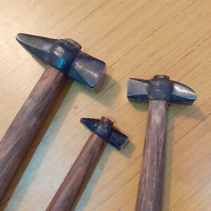 Set-of-3-Heavy-Iron-Hammers-Blacksmith-Useful-Tools-Wooden-Handle-Heavy-Duty
