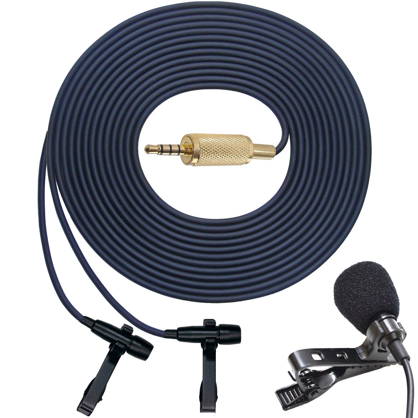 Pro  Doble Cabeza Micrófono Estéreo Binaural Lavalier Clip en entrevista micrófono de solapa 81868e