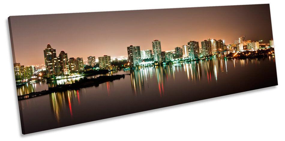 SUNNY ISLES BEACH Aventura art. a muro Skyline Panorama incorniciato stampa