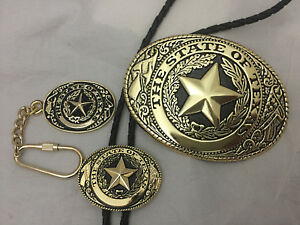 Texas-Seal-Gift-Set-Belt-Buckle-Bolo-and-Key-Ring-Goldtone