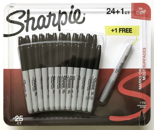 1 Package of 24 Original Black Fine Point Sharpie Pens Plus 1 Metallic Silver