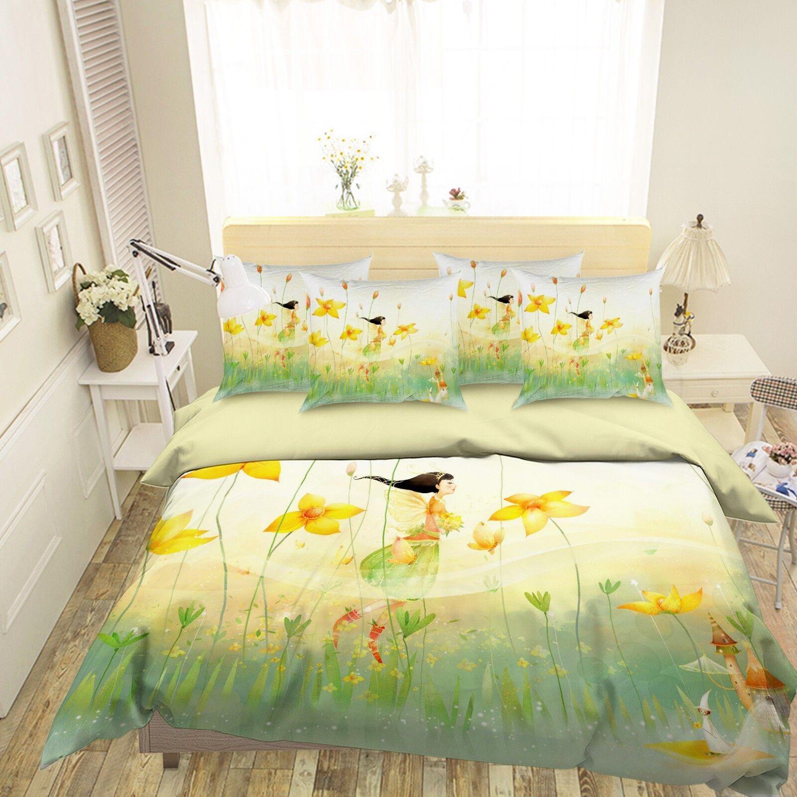 3D Mädchen Flowers 677 Bett Pillowcases Quilt Duvet Startseite Set Single König UK Lemon