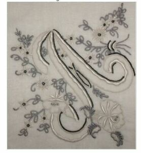 Monogrammed-Vintage-A-Initial-Madeira-Handkerchief-Gorgeous-Black-and-Silver