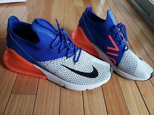 Men s Nike Air Max 270 Flyknit White Racer Blue Total Crimson Black ... 06e73eb14