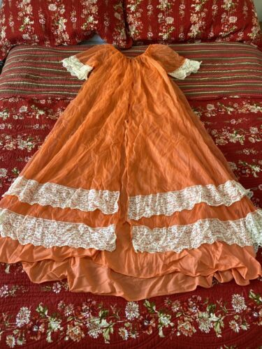 VTG Orange JENELLE SHEER CHIFFON Peignoir Robe & N