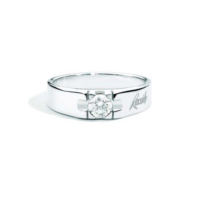 Or Avec R16so617010 Diamant Recarlo Bague Solitaire Homme Blanc f76gyYb