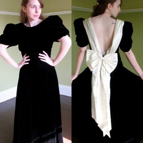Cream strik baljurk jurk Satijnen V Formele M Deep Back Regal S Velvet Black Lange tsdQhr